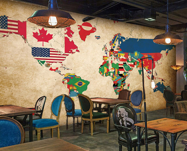 World Map Wall Mural Wall Countries Flags Wallpaper