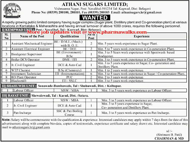 Job Openings for Multiple positions @ Athani Sugars