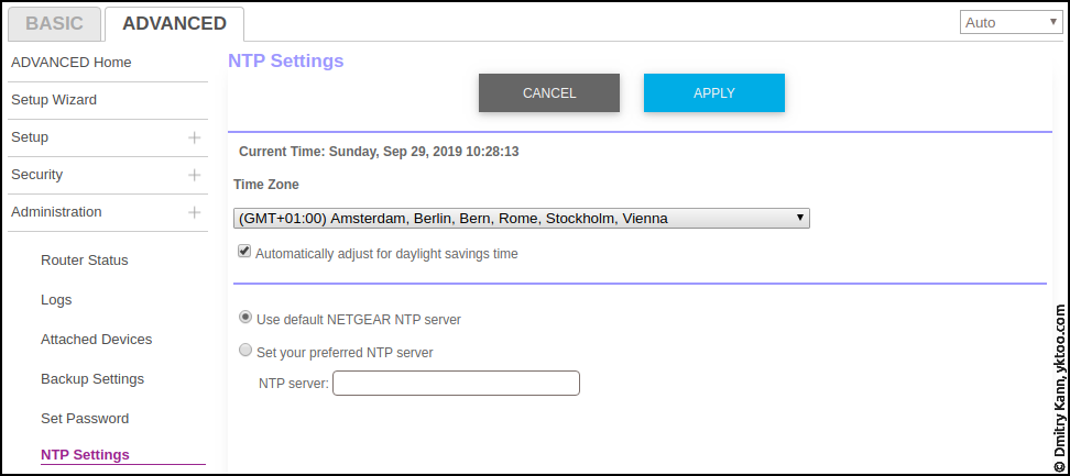 Advanced ⇒ Administration ⇒ NTP settings.