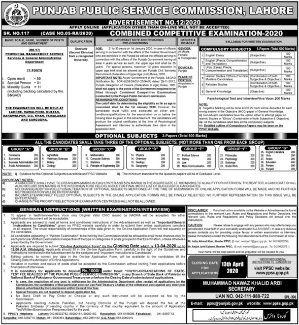 Provincial Management Service PMS Jobs PPSC Jobs 2020 for PMS