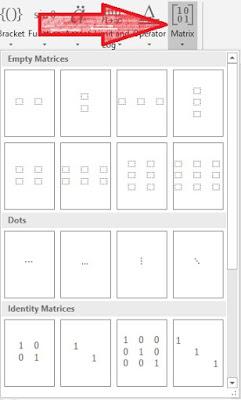 cara membuat rumus matrix di word