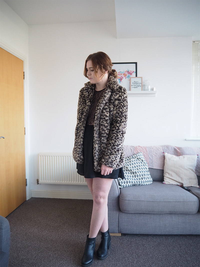 leopard fur short jacket black skater dress black vagabond boots