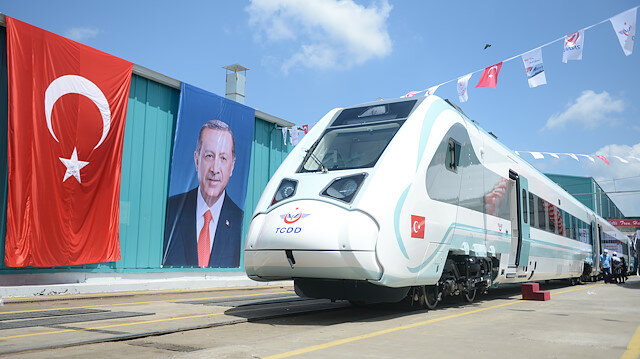 Factory trial starts for first Turkish-made electric train