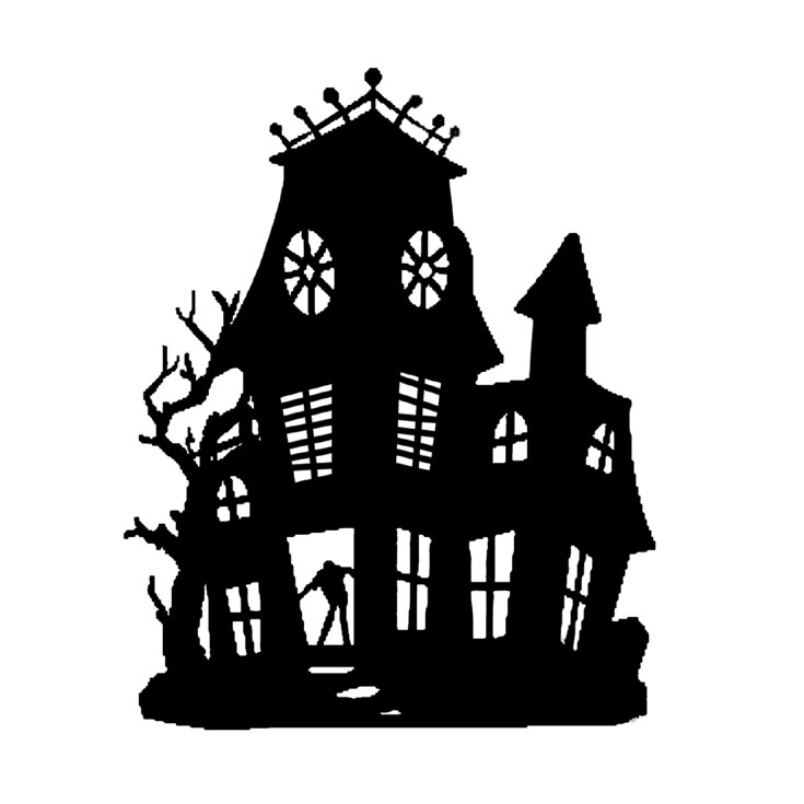 haunted house silhouettes coloring pages - photo#19