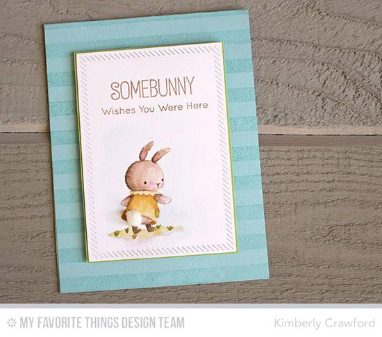 Somebunny Card by Kimberly Crawford featuring Birdie Brown Somebunny stamp set, the Striped Background stamp, and the Inside & Out Diagonal Stitched Rectangle Die-namics #mftstamps