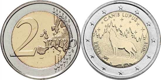 Estonia 2 euro 2021 - The Wolf - Estonian national animal