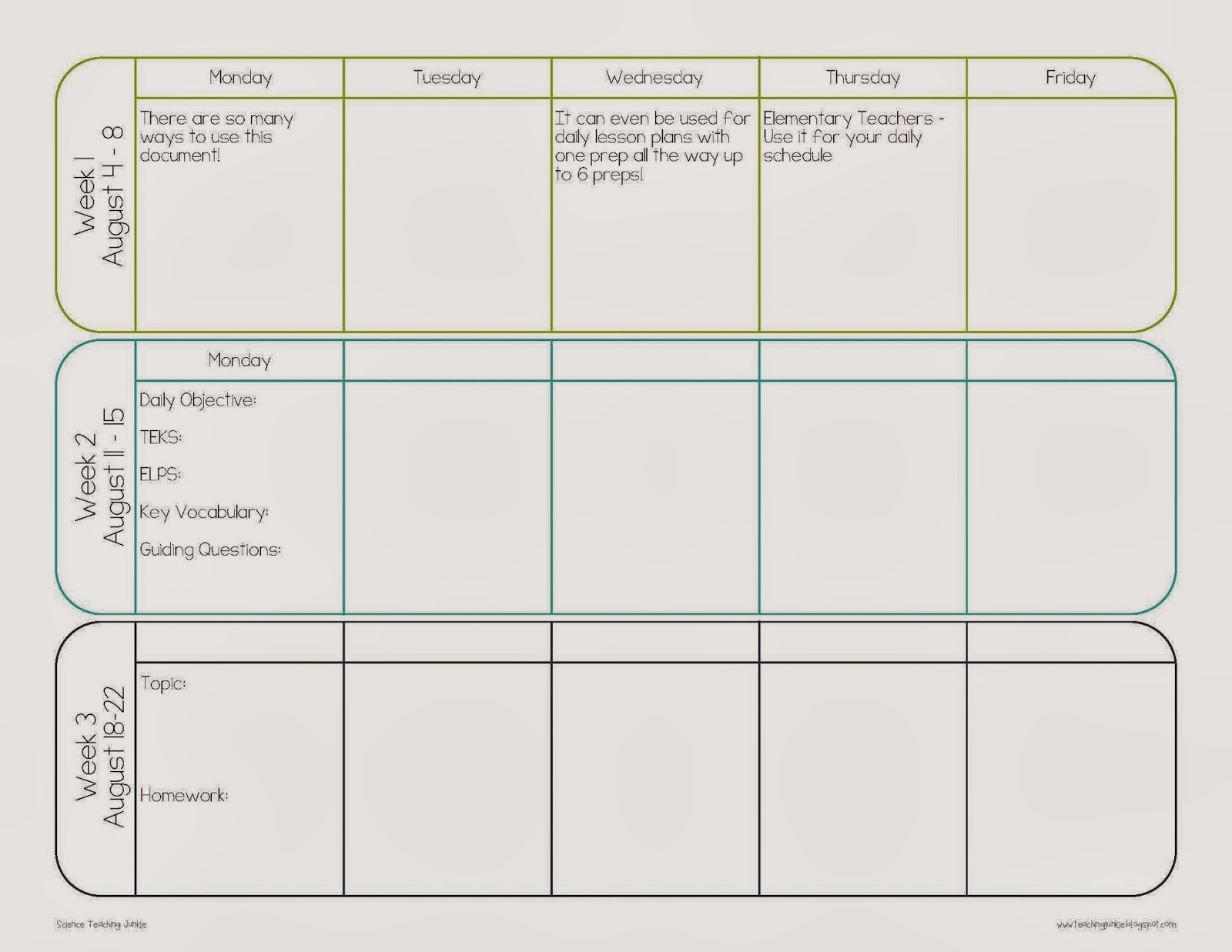 pacing calendar template for teachers science teaching junkie inc create your own teacher
