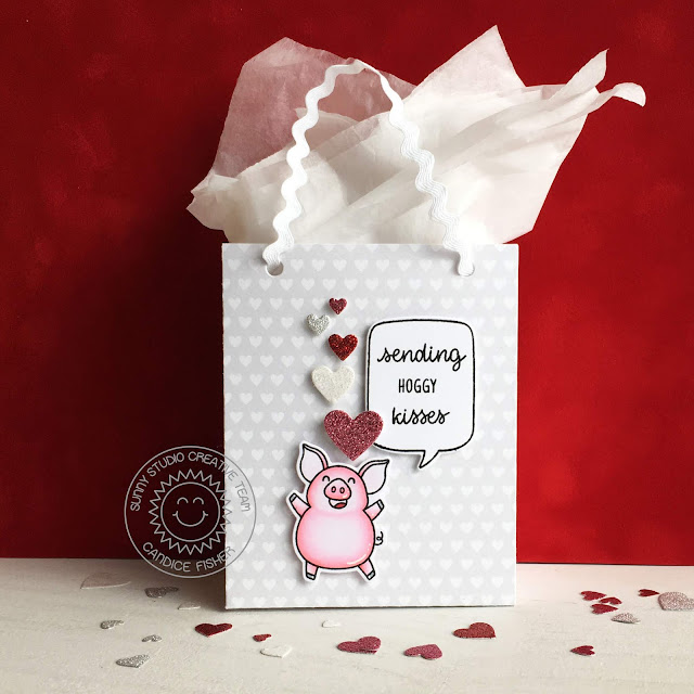 Sunny Studio Stamps: Sweet Treats Bag Hogs & Kisses Fluffy Cloud Border Dies Love Themed Gift Bags by Candice Fisher