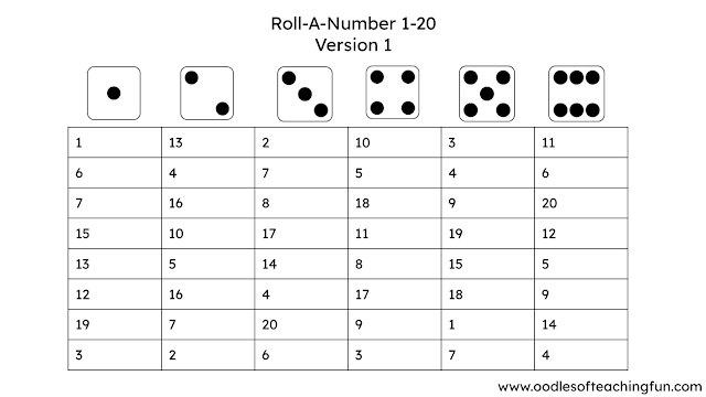 1-20 Practice for School and Home: Roll-A-Number (Free Download)