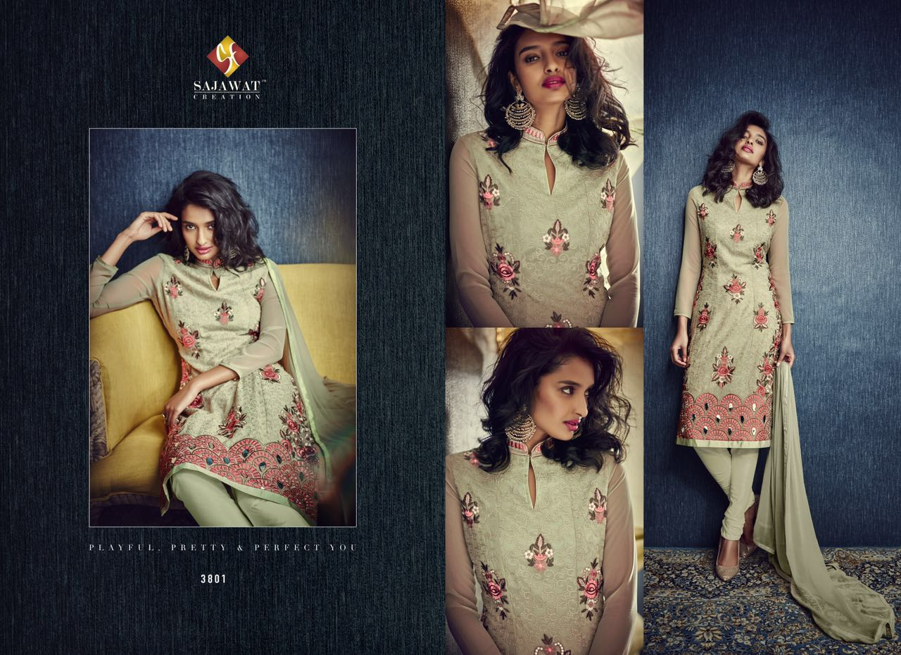 Sajavat – Embroidery Latest Long Straight Salwar Suit