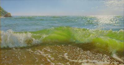 paisajes del mar al oleo con playas y olas