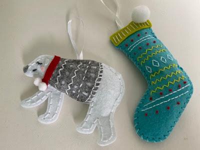 Christmas crafting felt kits, polar bear and stocking