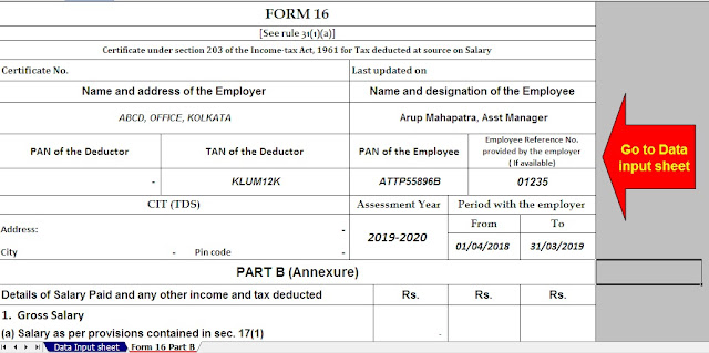 Automated Income Tax Form 16 Part B for the F.Y.2019-20