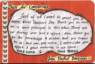 Pupil's greetings card