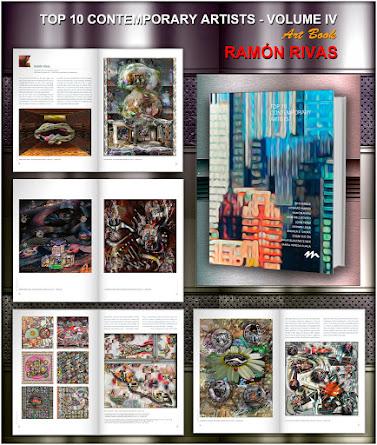 El Libro TOP 10 Contemporary Artists - Volumen IV y algunas de las 26 páginas  con obras de Ramón Rivas (Rivismo / Spain)