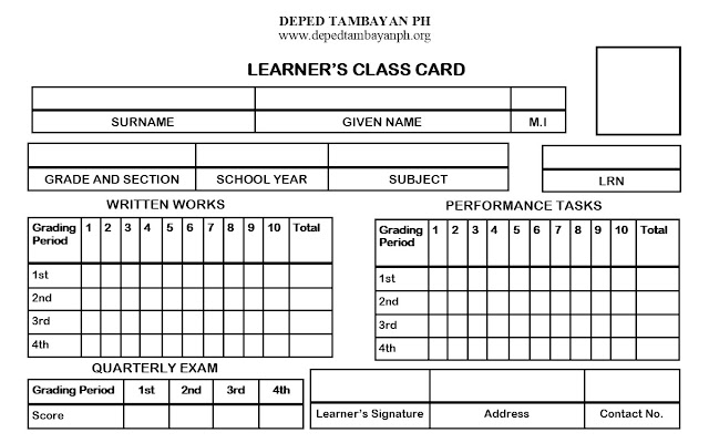 Editable LEARNER'S CLASS CARD for K-10 in Publisher Format
