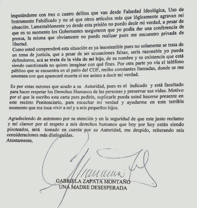 Gabriela Zapata carta ONU pagina 2