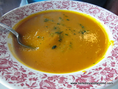 carrot soup at Mendo Bistro restaurant in Fort Bragg, California