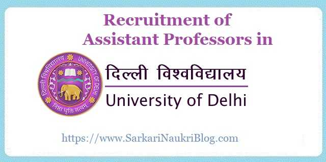Recruitment of Assistant Professors in Delhi University