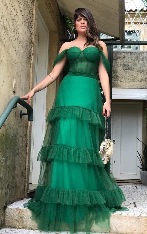 vestido de festa longo verde esmeralda