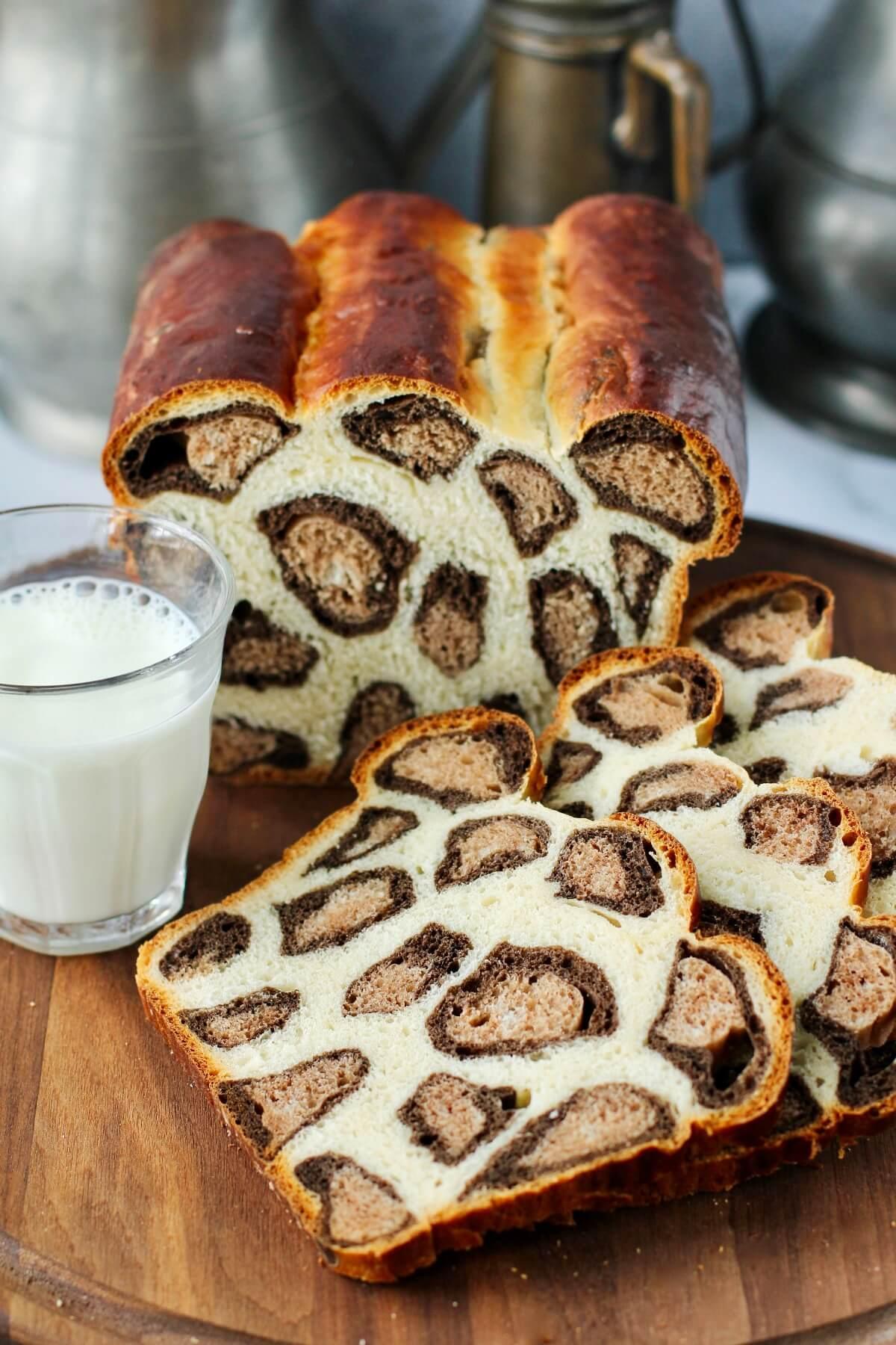 Leopard Print Milk Bread with milk