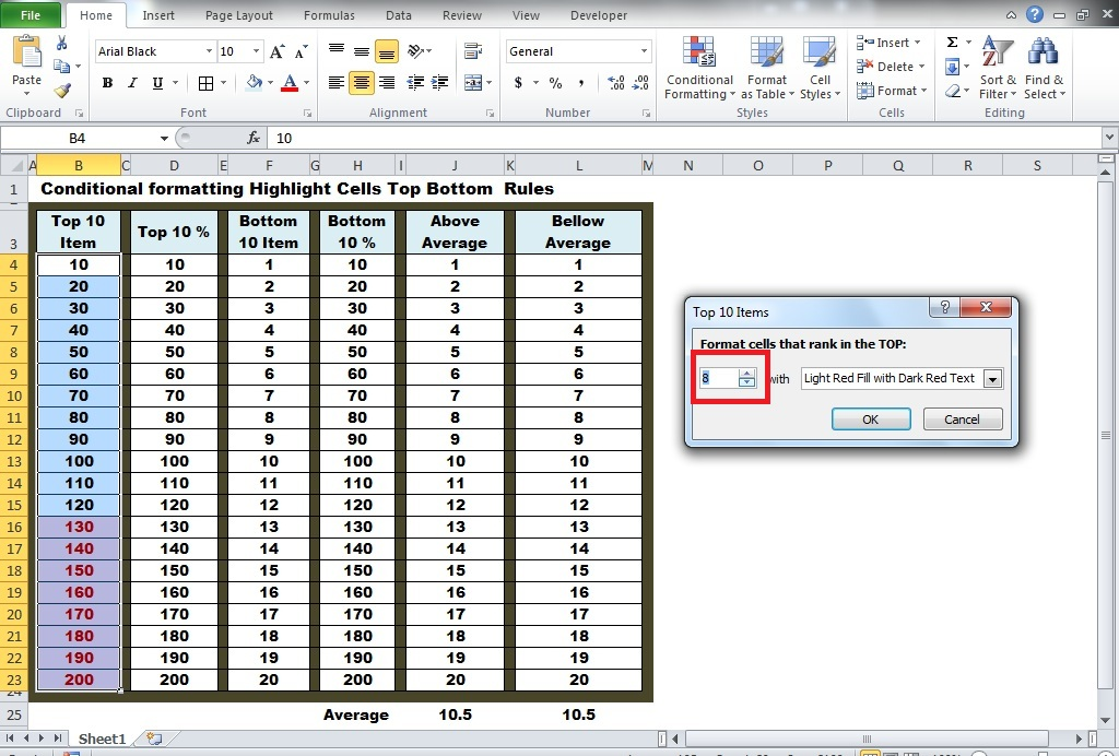 Conditional Formatting Highlight Cells Top-Bottom Rules  exceldesk.in
