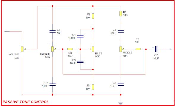 Skema Rangkaian Tone Control Pasif dan Aktif dengan Kontrol Middle sederhana