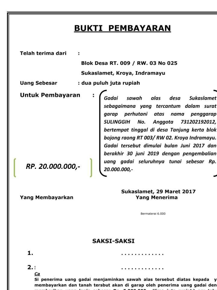 Contoh Surat Gadai Sawah Doc