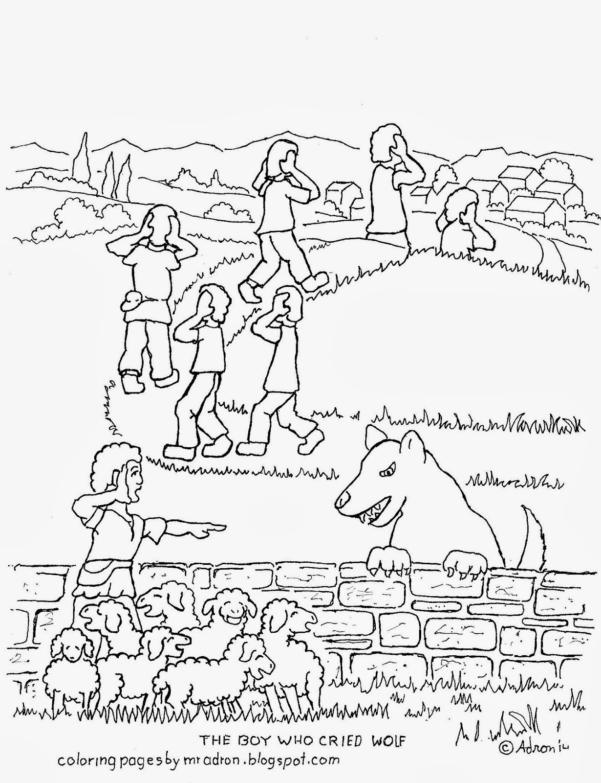 The Boy Who Cried Wolf Free Coloring Page