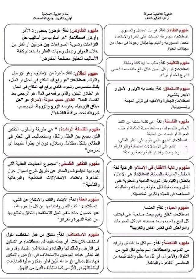 مصطلحات ومفاهيم التربية الاسلامية الأولى بكالوريا