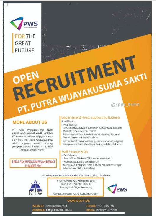 Lowongan Kerja PT PWS (Kawasan Industri Wijayakusuma Persero Group) Maret 2019