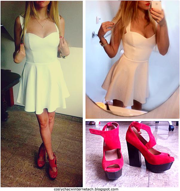 czerwone buty, biała sukienka, stylizacja