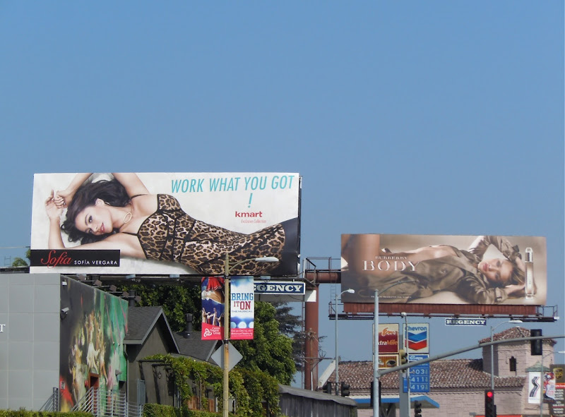 Kmart and Burberry billboards Sunset Strip