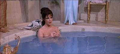 Cleopatra (Elizabeth Taylor) bathing in the 1963 movie Cleopatra