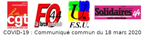 COVID-19 : COMMUNIQUÉ COMMUN FO CGT FSU SOLIDAIRES