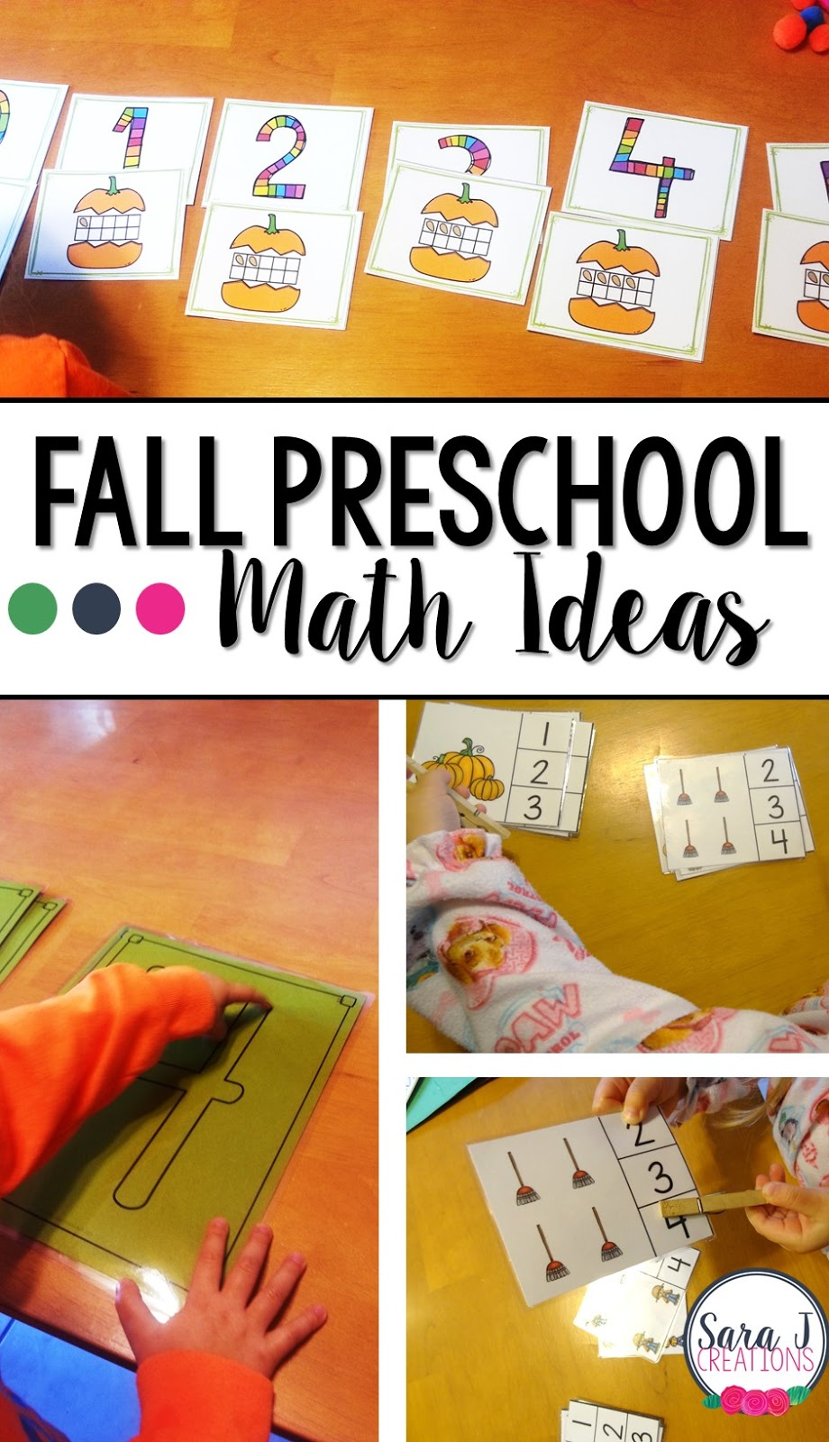 Ideas for fall preschool math practice for preschoolers that focuses on counting and numbers.