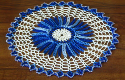 Blue White Starbust with Crystal Beads - By RSS Designs In Fiber on Etsy