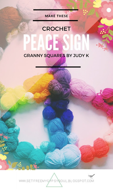 peace sign symbol crochet granny square pattern judy k yarnbomb