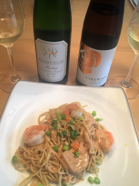 Red Newt Sawmill Creek Riesling and Lakewood Riesling with Thai Shrimp