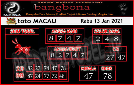 Prediksi Bangbona Toto Macau Rabu 13 Januari 2021