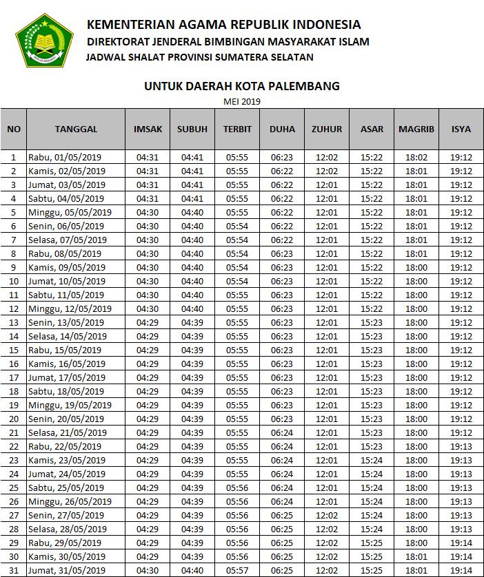 Jadwal Imsakiyah Ramadhan 2019 / 1440 H Palembang