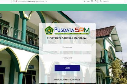 http://pusdataspm.kemenag.go.id/ Alamat Website Pusat Data Sarpras Madrasah