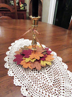 Fall Candle ring. This home décor item is made with the stamp and large leaf die from Stampin'Up!'s Gather Together Bundle
