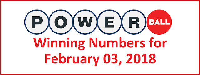 Powerball Winning Numbers for Saturday, 03 February 2018
