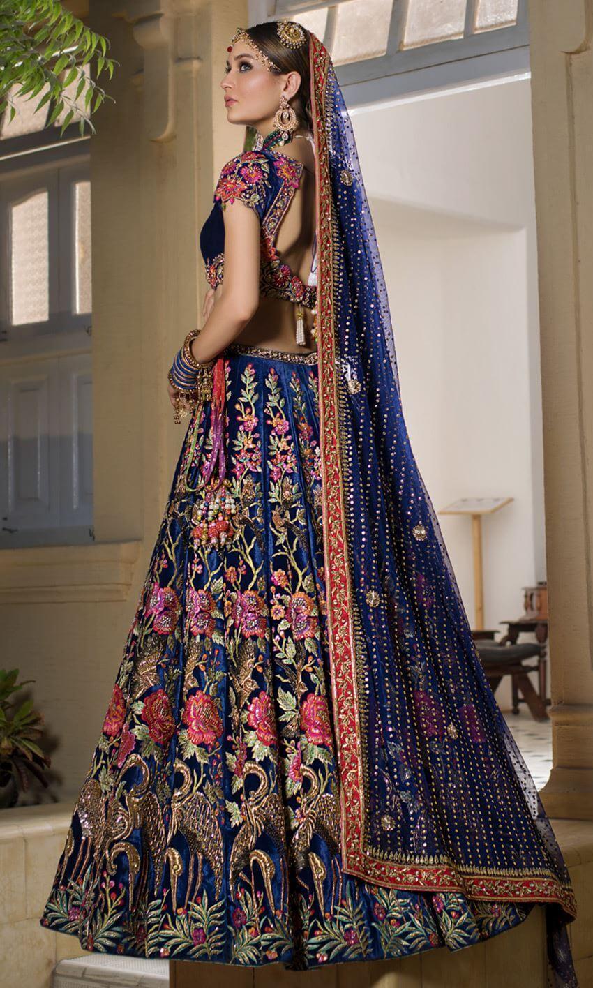 Deep royal blue lehenga choli Pakistani bridal wear Rajasthan by Nomi Ansari
