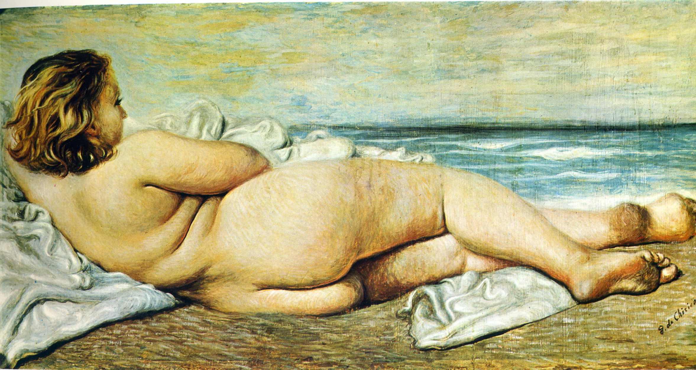 Nude Woman On The Beach By Greek Born Italian Artist Giorgio De