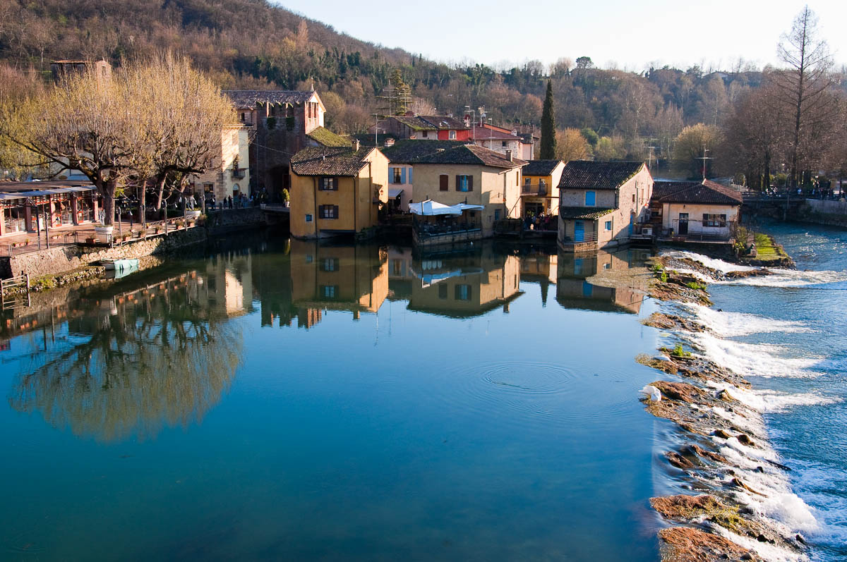 Borghetto seen from the medieval Scaligeri bridge, Veneto, Italy