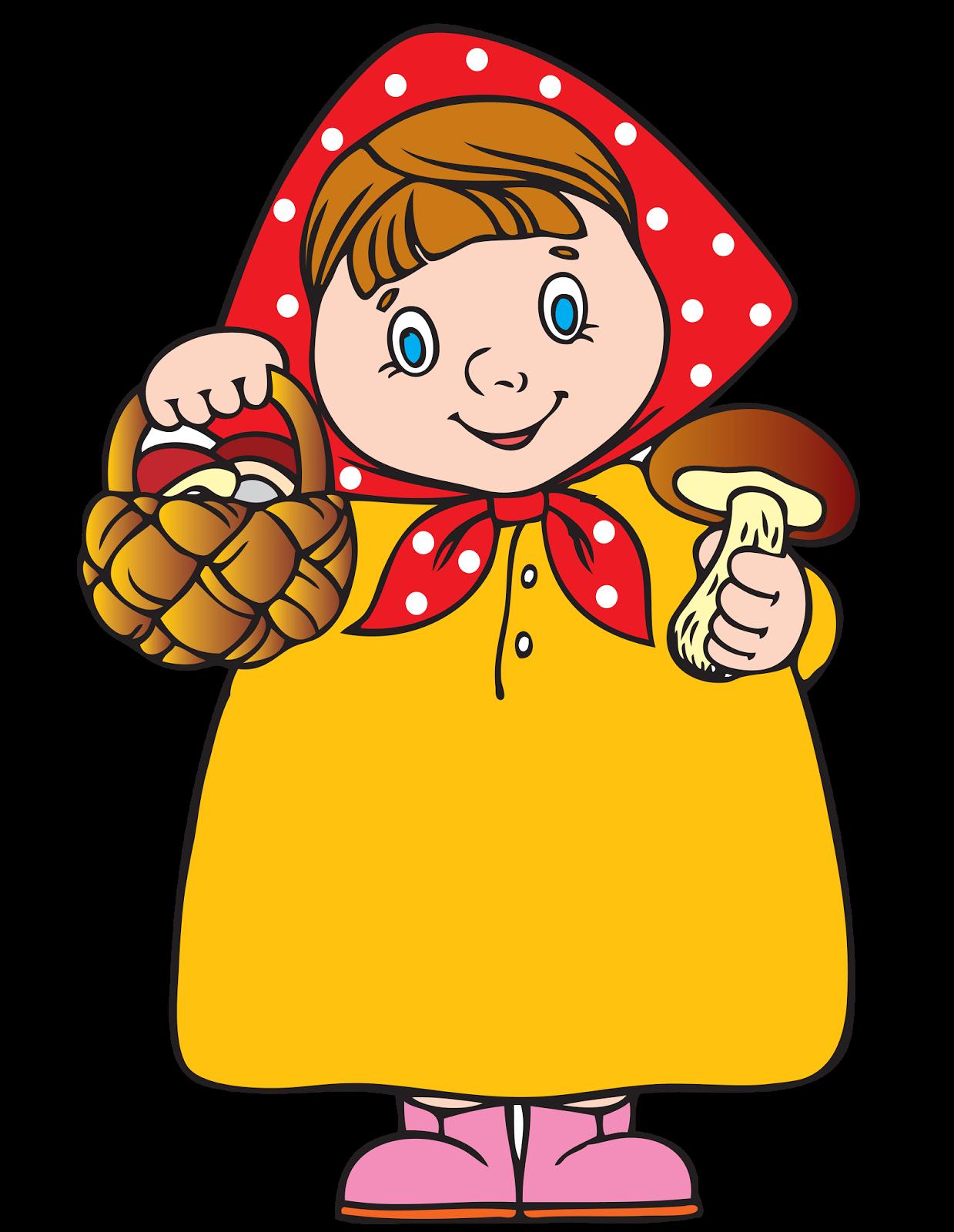 Картинка девочка в осенней одежде с корзинкой