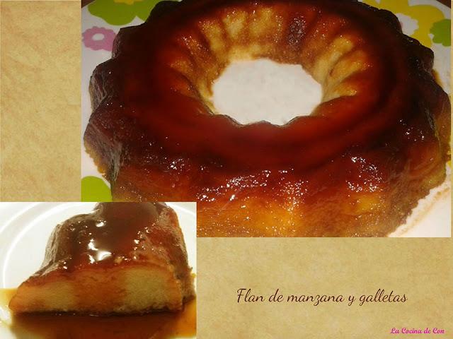 flan manzana galletas microondas