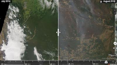 Incendios y deforestacion en Santa Cruz de la Sierra Bolivia